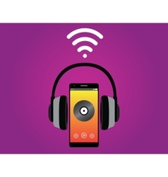 Smartphone with headphone listening music use wifi vector