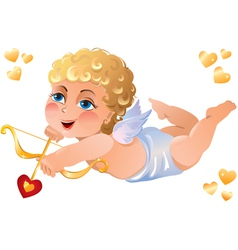 Cupid shooting heart vector
