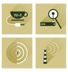 Concept of flat icons with long shadow wi-fi vector
