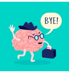 Brain in hat vector