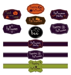 collection of halloween ribbons and labels vector image vector image