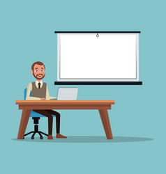 Color background executive man sitting in desk for vector