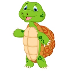 Cute turtle cartoon presenting vector image