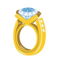 Diamond gold ring retro vector