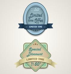 Discount vintage retro design style vector image vector image