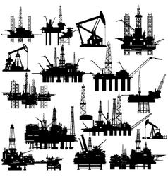 Drilling rigs and oil pumps vector image