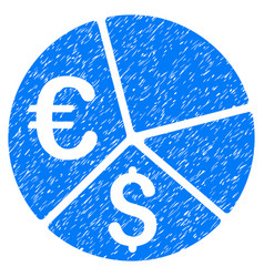 Euro and dollar pie chart grunge icon vector