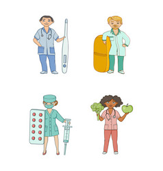 Flat cartoon doctors therapists with huge objects vector