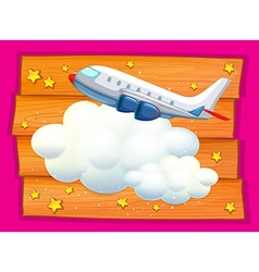 Frame design with airplane and clouds vector