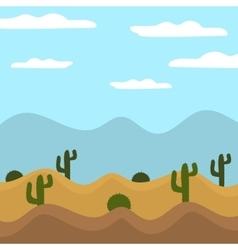 Game background cactus desert heat journey cartoon vector