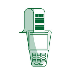 Green silhouette shading dataphone with receipter vector
