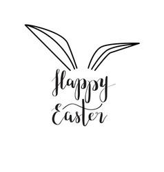 Happy easter rabbit ear calligraphy vector