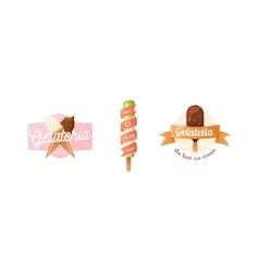 Icecream badge food logo vector image vector image
