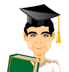 Lad with textbook vector