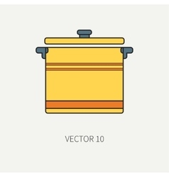 Line flat color kitchenware icons - pan vector image