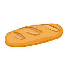 Long loaf of wheat bread flat material design vector