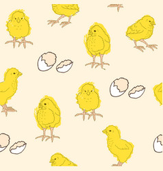 Pattern with chickens and eggs vector