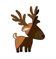 Silhouette caricature color of reindeer stand and vector