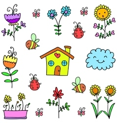 Spring colorful doodles item vector