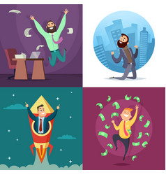 successful funny and happy businessmen in active vector image vector image