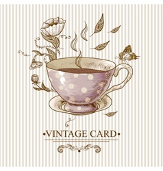 Vintage card with cup flowers and butterfly vector