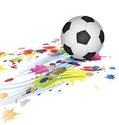 Soccer ball and ink splatter background vector