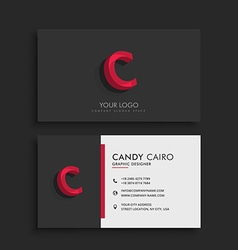 Clean dark business card with letter c vector