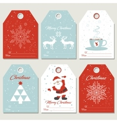 Set christmas gift tags in retro style vector