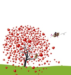 Bird and heart tree design of love vector