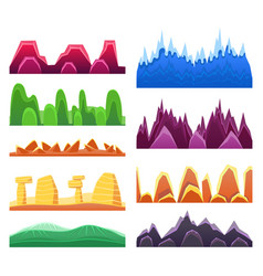 2d rock and mountain profile elements set in vector