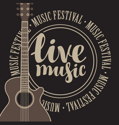 Banner live music with acoustic guitar vector