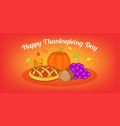 thanksgiving pie horizontal banner cartoon style vector image