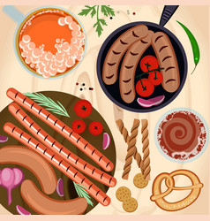 Grilled sausages and beer vector