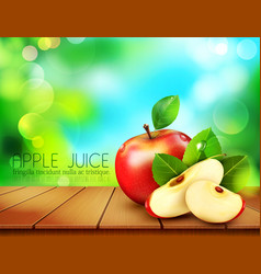 Ruddy apple with apple slices lying on a wooden vector