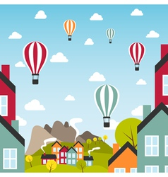 Small town with air balloons vector image