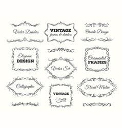 vintage frame set ornate frames and scroll vector image