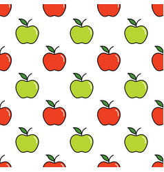 pattern with red and green apples vector image