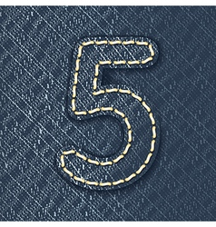 Number 5 made from jeans fabric vector