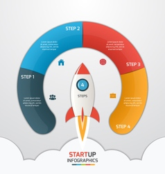4 steps startup circle infographic with rocket vector