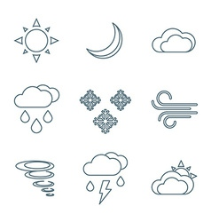 Dark outline weather forecast icons set vector