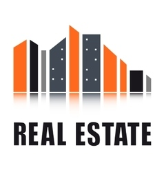 real estate symbol with city landscape vector image