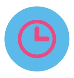 Clock flat pink and blue colors round button vector