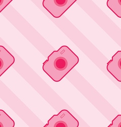 Seamless pink toy camera pattern vector