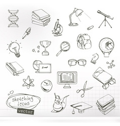 Studying and education sketches of icons set vector