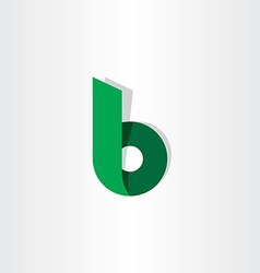 Green ribbon letter b symbol logo vector