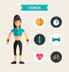 Flat design of coach with icon set infographic vector
