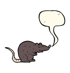 Cartoon black rat with speech bubble vector