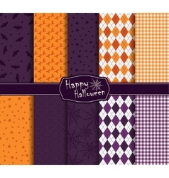 Halloween collection of seamless pattern vector image