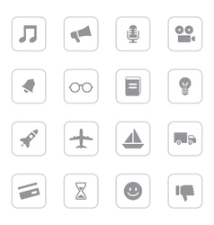 Gray web icon set 5 with rounded rectangle frame vector