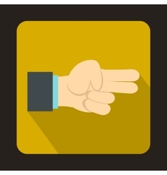 Hand showing two fingers icon vector